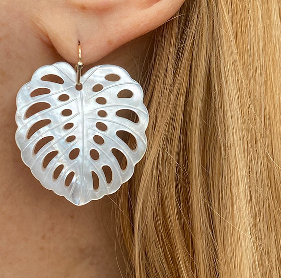 Large mother of pearl tropical leaf earrings