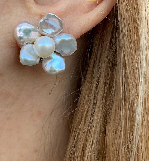 Keshi pearl flower earrings
