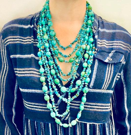 Dramatic turquoise multistrand necklace