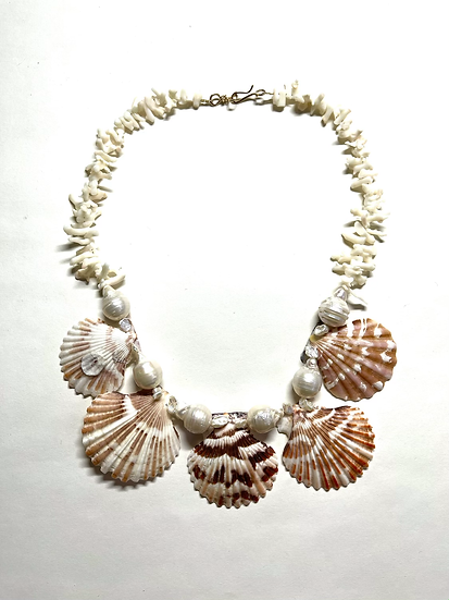 Scallop shell, pearl, coral necklace