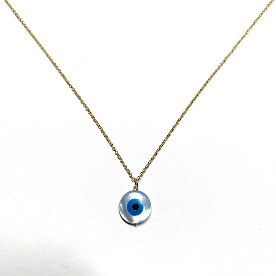 Mother of pearl evil eye on gold chain