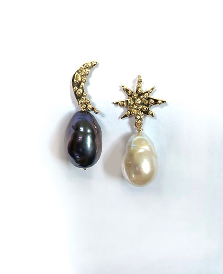 14k Sun and moon earrings with black and white pearls