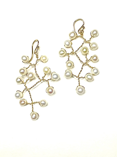 Pearl vine earrings goldfilled