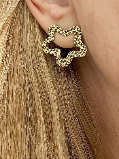 14k gold open star earrings