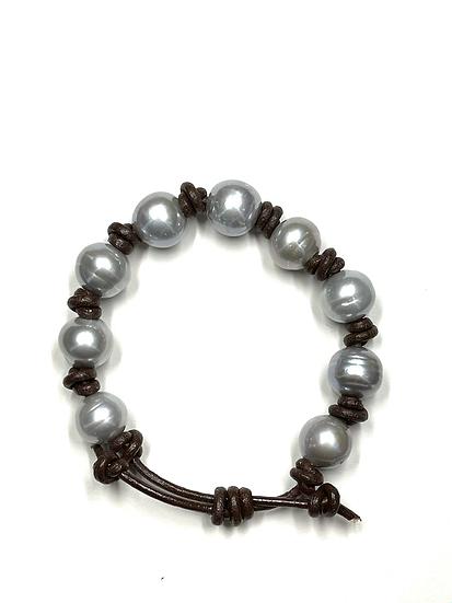 Grey pearls on brown leather adjustable bracelet