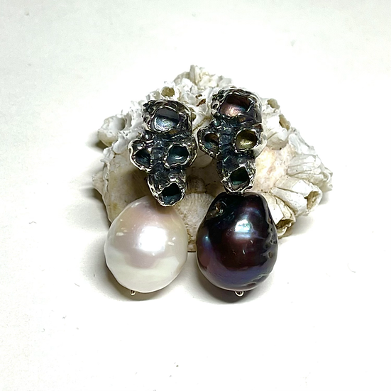 Sterling silver barnacle earrings with pearls