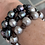 Thumbnail: Black and grey pearls on black leather bracelet