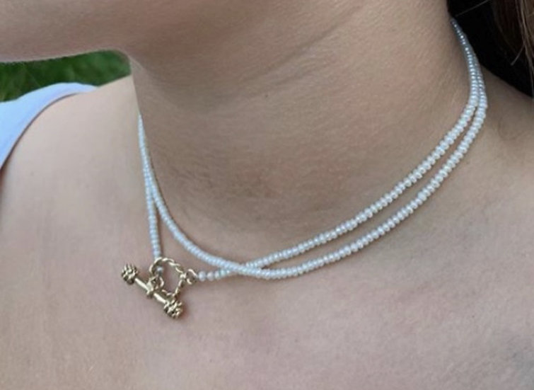 14k toggle with pearls bracelet/necklace