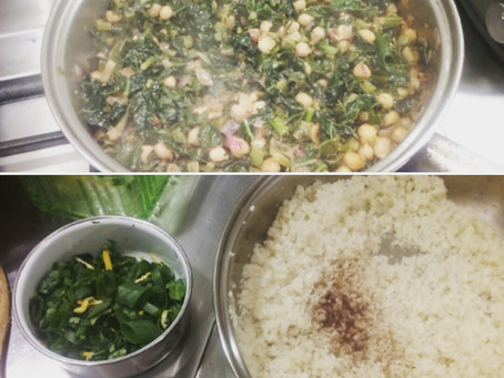 Middle Eastern Sauteed Greens with White Beans and Cauliflower Rice