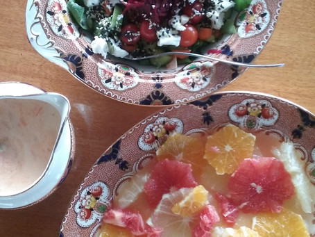 A beautiful lunch of salads.. ..