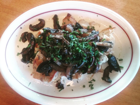 Pan-fried Chicken topped with Creamy Garlic Mushrooms