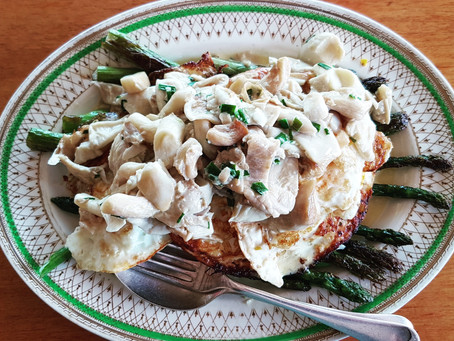 Grilled Asparagus & Eggs with Mushroom Cream Sauce