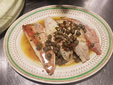 Local fish with lemon, butter and caper sauce....yum!
