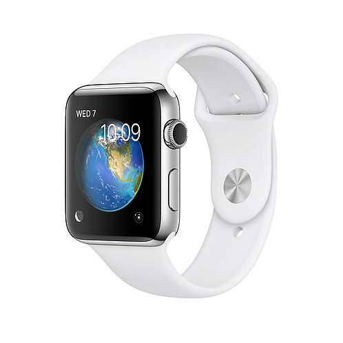 Apple Watch Series 3 42 mm Silver Aluminium White Sport Band(GPS) (White Strap)