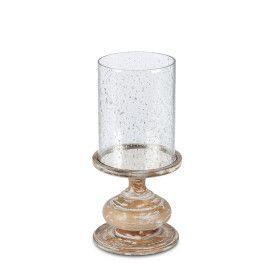 WHITE WD/FOIL GLS 14.75H CANDLEHOLDER