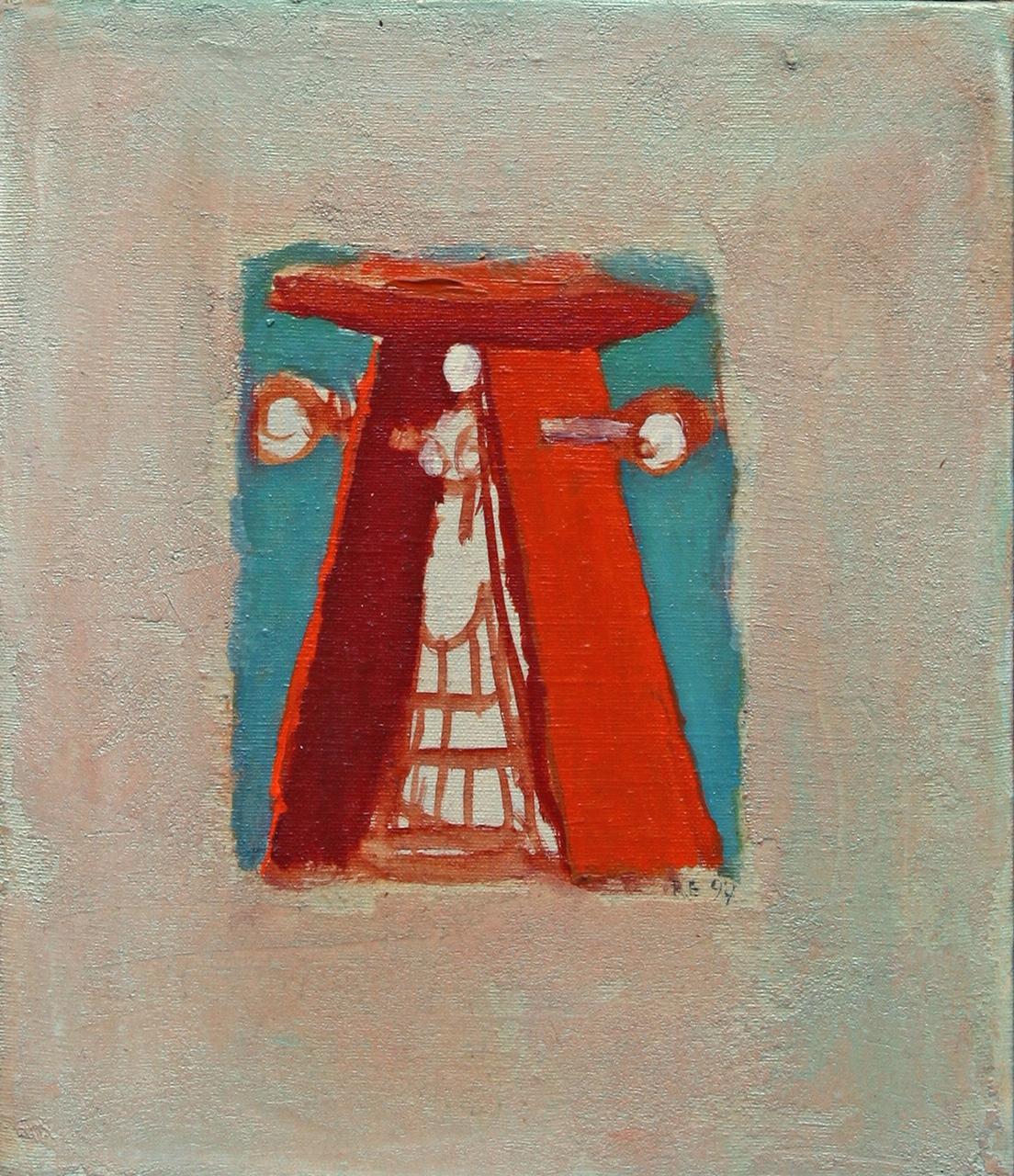 Die Zauberin, 1997, Öl:Leinwand, 35×20 c