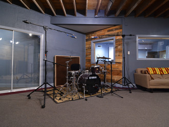 SG Studios Main Tracking Booth C and Drum Kit