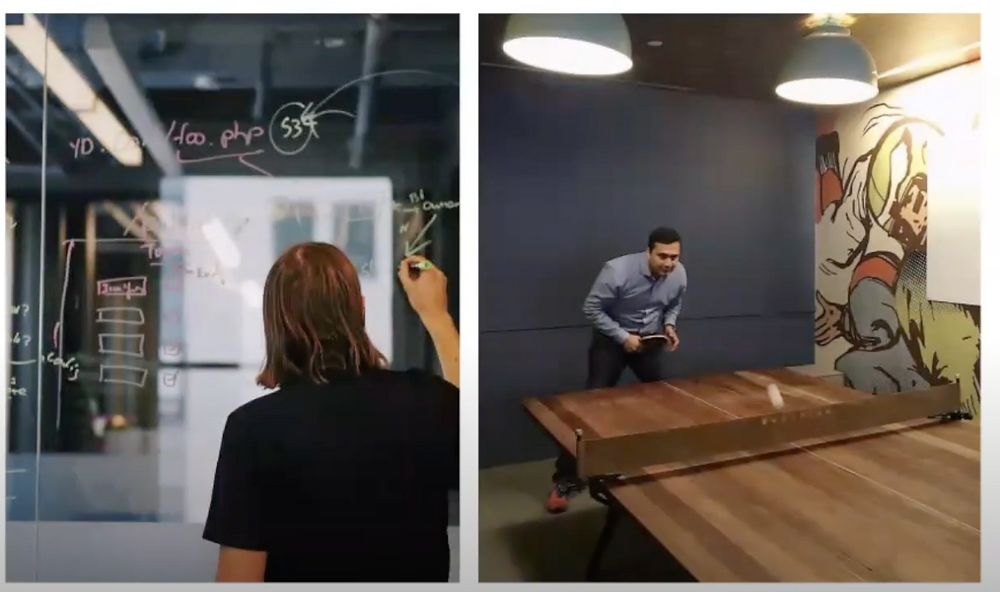Watch Brian Hurlow brainstorm ideas for Yellowdig's earlier platform. Shaunak plays ping pong in the office.