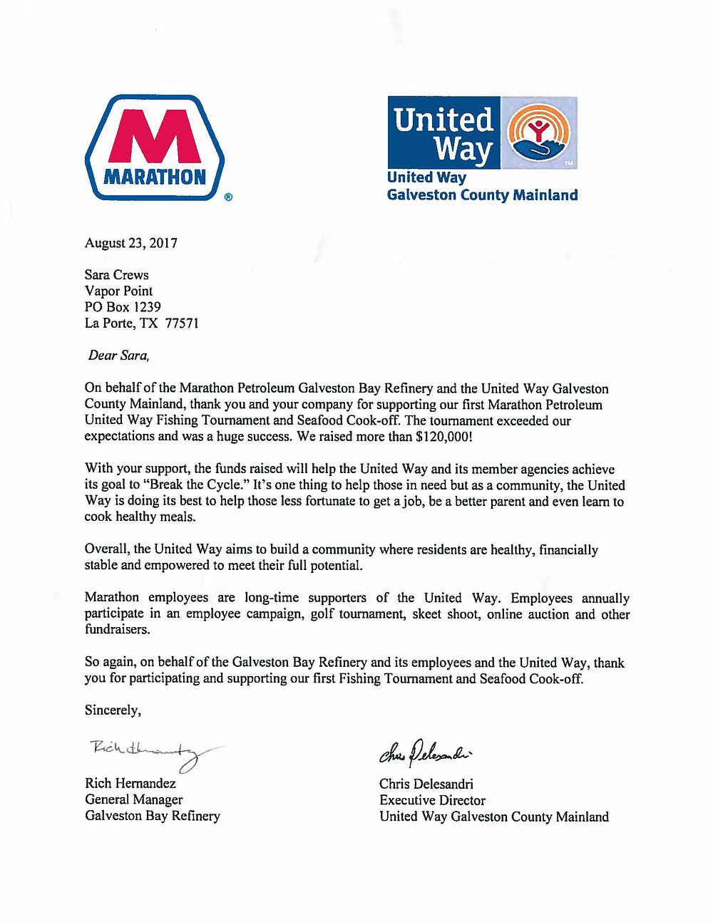 Thank-you letter from Marathon Petroleum to Vapor Point