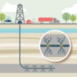 Oil and gas fracking diagram