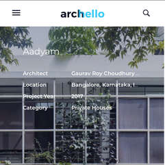 2020 Aadyam: Pubished in Archello