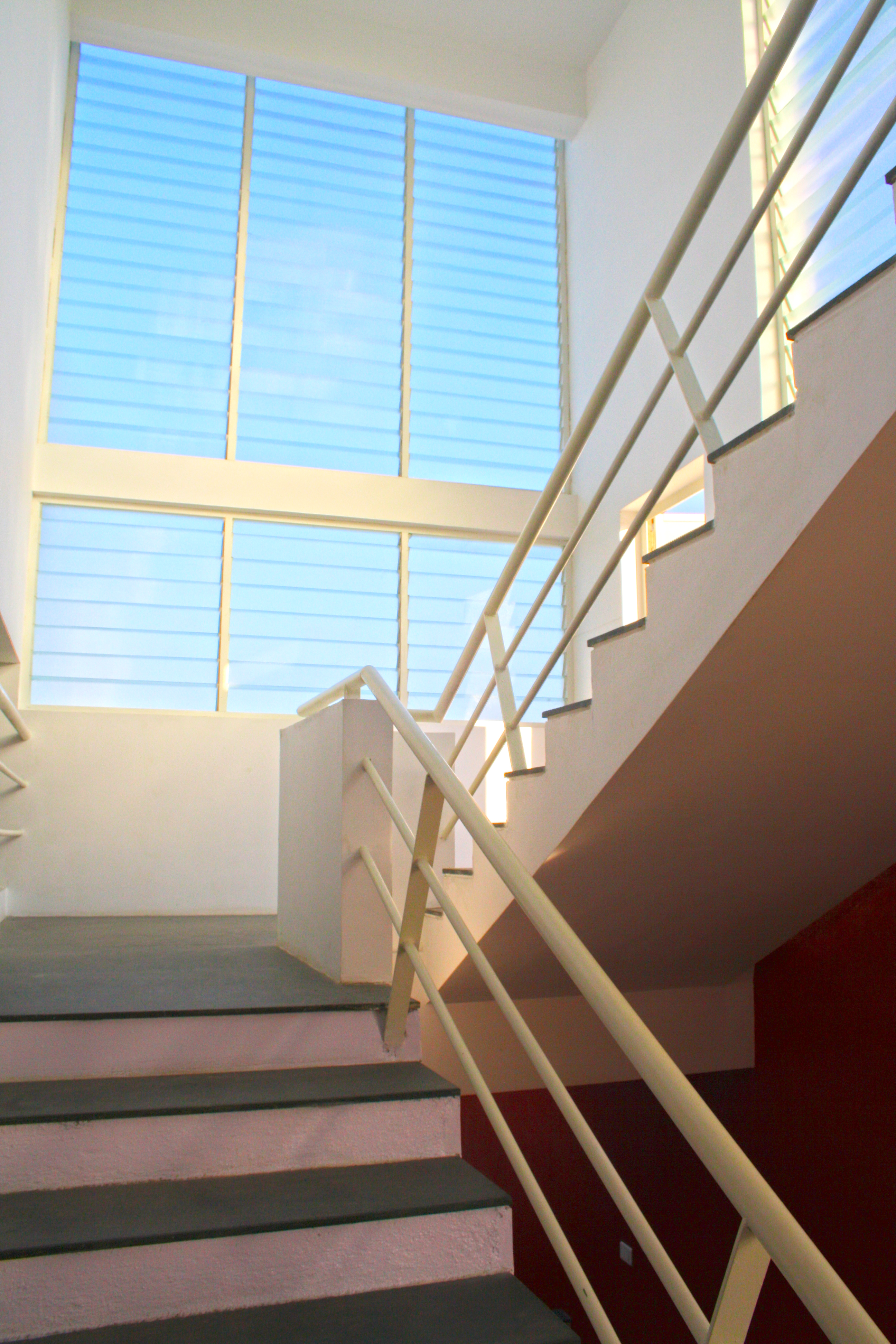 Louvered vent and light for the staircase