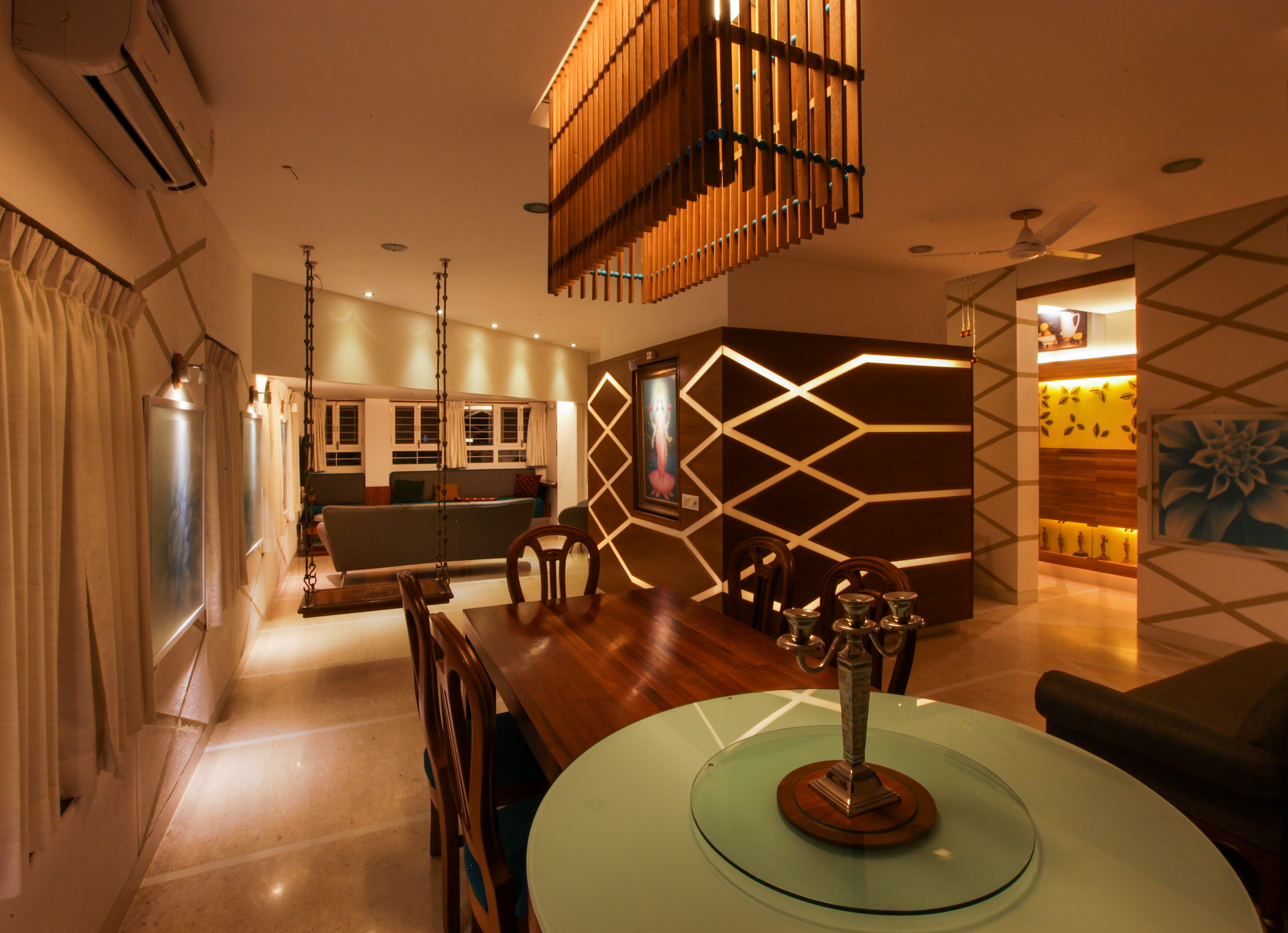 Main living and dining space at night