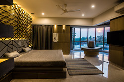 The Master Bedroom from the entry at sunset