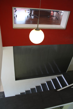 The admin-block staircase leading towards the exit