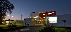 Factory entrance in the evening