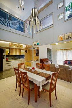 Dining with the double height space