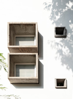 The different scales of Precast Window Boxes on the east face