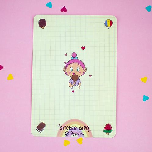 Sticker Card - Sorvetinhos | Cartão para adesivos da lily&puka