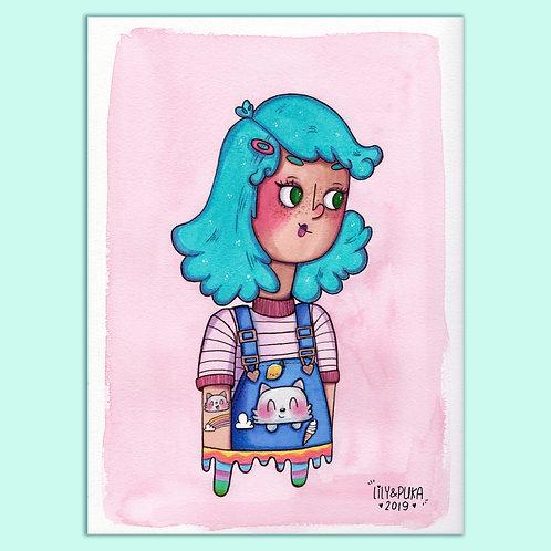 ilustração em Aquarela ORIGINAL - Kawaii Girl