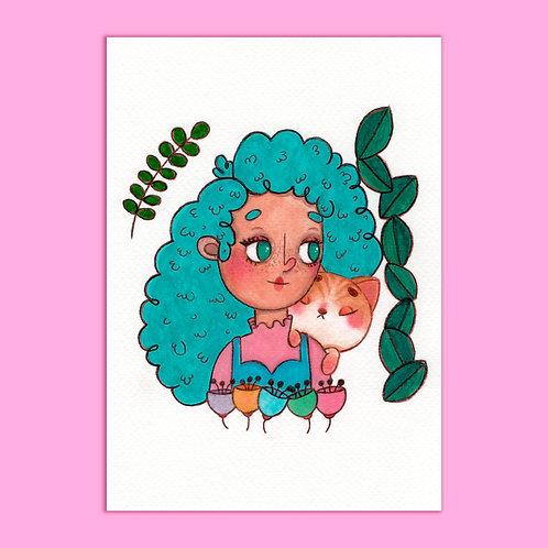 ilustração em Aquarela ORIGINAL - Kitty