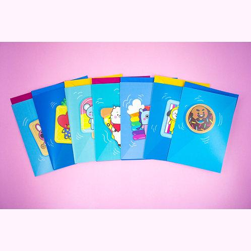 Cartão de Saudação inspirado nos personagens do BT21 (kit com 7) | by lily&puka