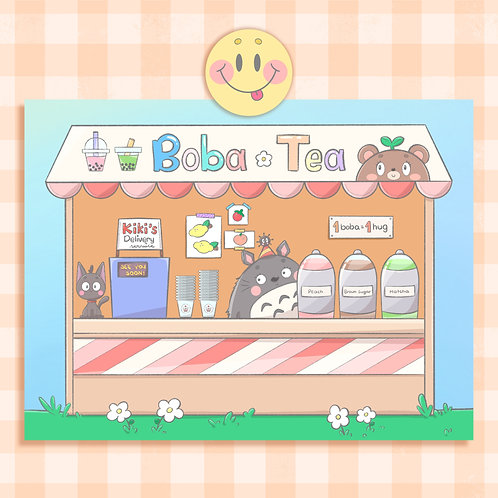 mini Print Studio Ghibli + Boba Tea | Cartão Postal | lily&puka