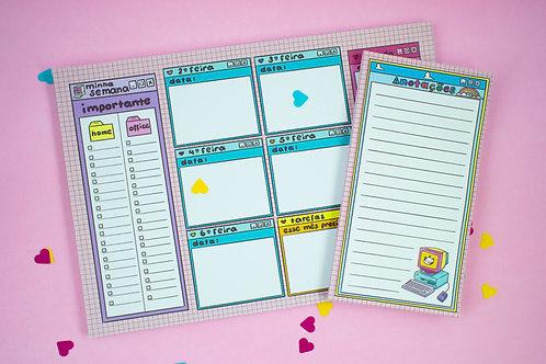 kit Planner Semanal + Bloquinho de Notas | Computador dos anos 90