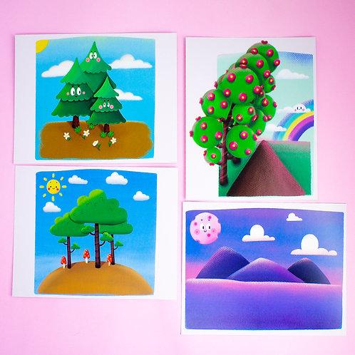 kit mini prints (com 4) - Estudos | lily&puka