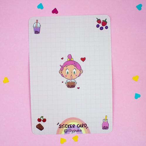 Sticker Card - Boba Tea | Cartão para adesivos da lily&puka