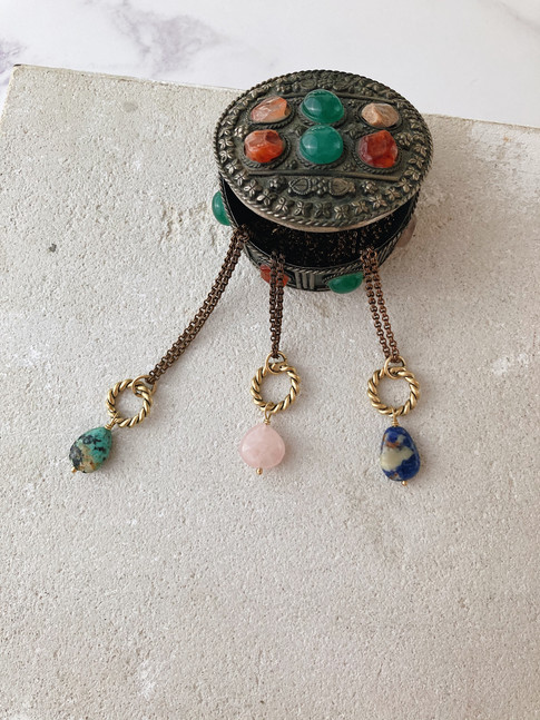 Simple New Moon pendants with gemstone d