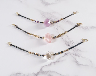 Crystal bracelets: amethyst, rose quartz, crystal quartz