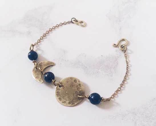 Moon phases bracelet, lapis lazuli