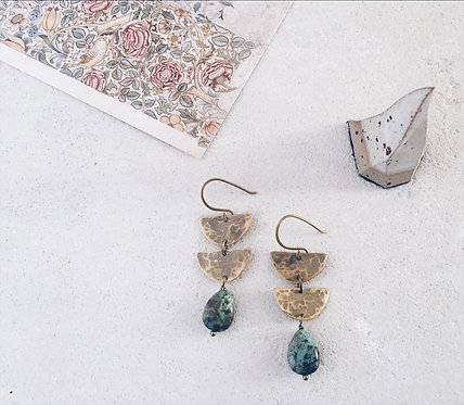 Half moon earrings, brass and african turquoise drops