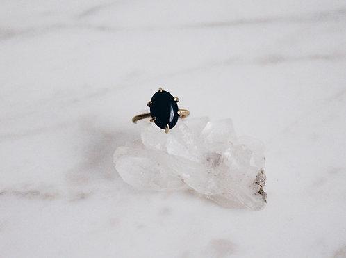 Black onyx ring, brass band and black gemstone, black ring