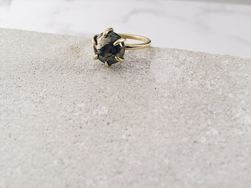 Pyrite ring, brass or silver band and pyrite, cosmic ring, earth tones