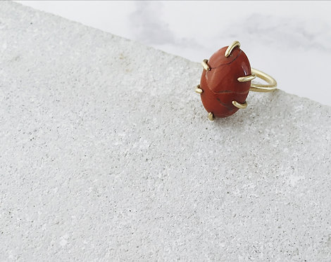Red jasper ring, brass band and brick red gemstone, Autumn hues jewelry