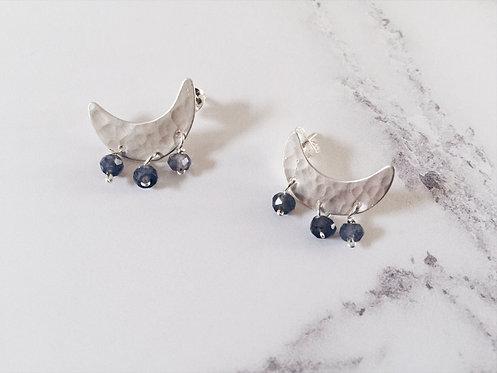 Sterling silver crescent moon stud earrings, blue iolite gemstones