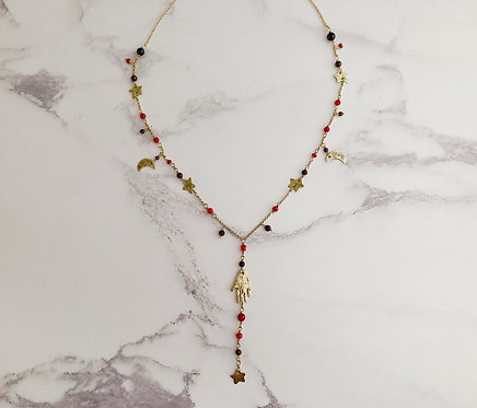 Cosmic amulet rosary necklace, hand moon stars, red and gold