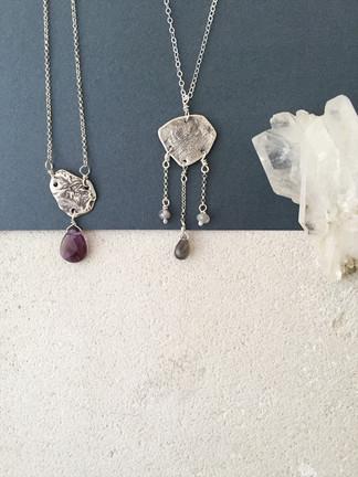 Reticulated silver pendants + semiprecious stones